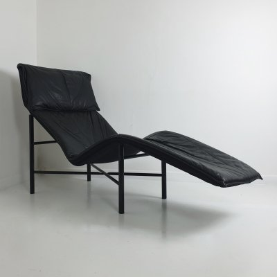 Black Leather 'Skye' Chaise by Tord Björklund for Ikea, c.1980