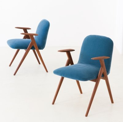 Pair of Blue Velvet & Teak Armchairs, 1950s