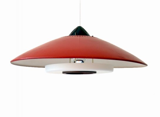 Red vintage pendant lamp by Louis Kalff for Philips, 1950s