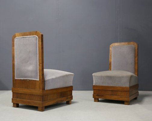 Pair of Art Deco Armchairs by Alfio Fallica in Velvet & Walnut, 1920s