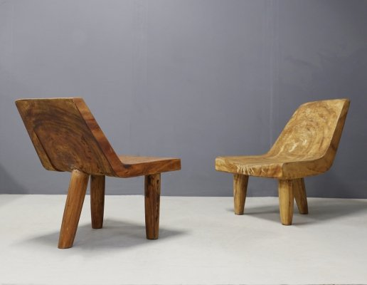 Contemporary Hand Carved Solid Wood Italian Armchairs, 1990s