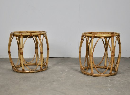 Pair of rattan stools, 1960s