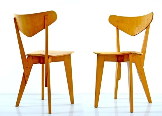 Vintage plywood chairs by Hein Stolle, 1940s