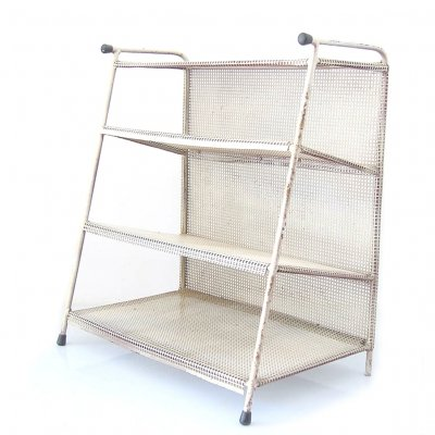 Large perforated metal magazine rack, 1950s