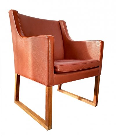 Red/orange leather 'Model Nr. 3246' Chair by Børge Mogensen for Fredericia Stolefabrik, Denmark 1970s