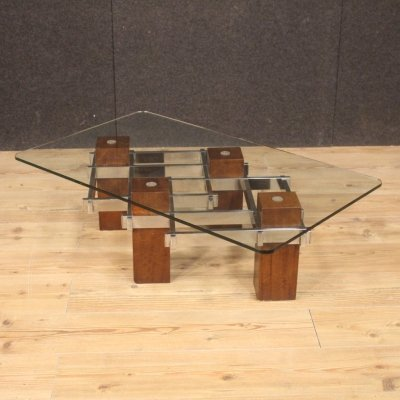 20th Century Wood Crystal & Metal Italian Design Coffee Table, 1970