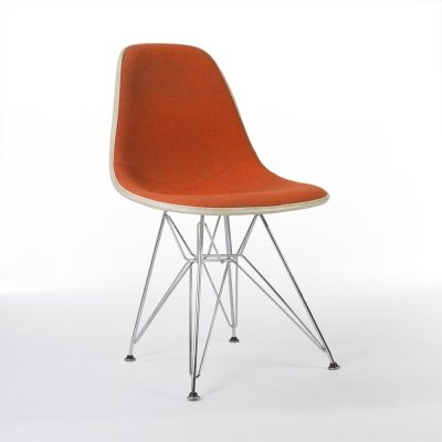 Red Orange Upholstered Herman Miller Eames DSR Eiffel Side chair, 1960