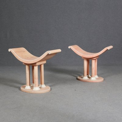 Pair of Art Deco of Stools in Pink Galuchat & Ivory by Jules Leleu, Published 1940