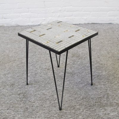 Vintage hairpin side table with ceramic tiles, 1960s
