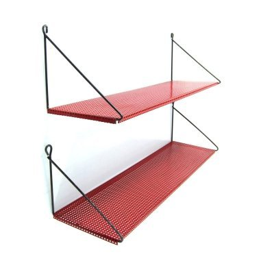 Pair of perforated red shelves by Tjerk Reijenga for Pilastro, 1950s