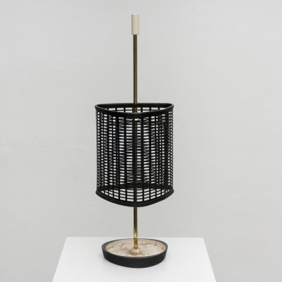 Italian brass & perforated metal umbrella stand, 1950s