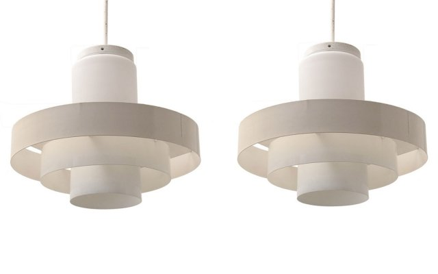 Two large industrial Jo Hammerborg pendant lamps by Fog & Mørup, 1960s