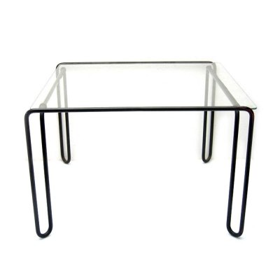 Metal & glass hairpin side tables, 1960s