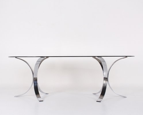 Dining table in smoked glass with 'X' shaped chromed legs