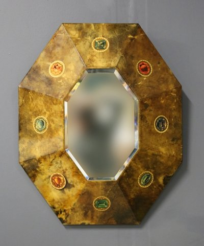 Aldo Tura Mirror in parchment with original label, 1950s