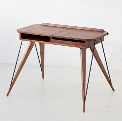 Italian Teak & Beech Desk Table, 1950s
