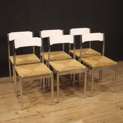 Set of 6 20th Century Wood, Metal & Straw Italian Design Chairs, 1970