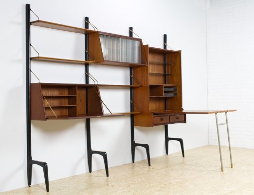 Teak Modular wall unit by Louis van Teeffelen, 1950s