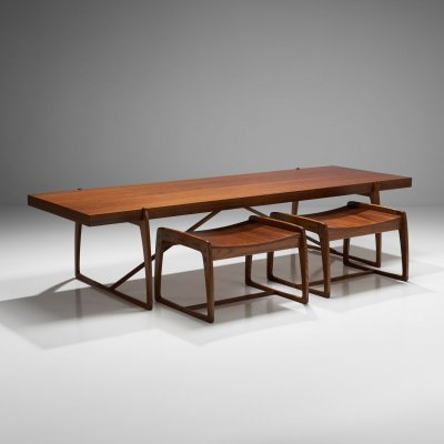 Coffee Table & Two Stools, 1960s