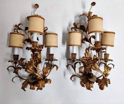 Pair of XXL gilded wall lamps, 1960s