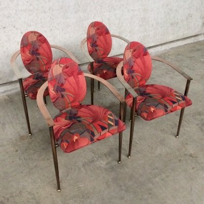 Set of 4 copper metal Arm Chairs by Belgo Chrom, 1970's