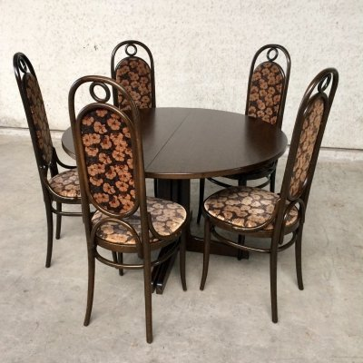 Thonet Dining set with 5 207R 'Long John' Chairs & Extendable Table, 1979