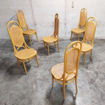 Set of 6 Thonet no. 17 'long john' dining chairs, 1980s