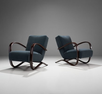 Pair of Jindřich Halabala Lounge Chairs, Czech-Republic ca 1930s