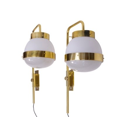 Brass Wall Lamps by Sergio Mazza, 1960s