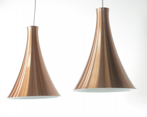 Set of 2 brass colored aluminum pendant lamps by Raak Amsterdam, 1960s