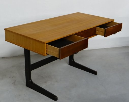 Vintage writing desk with sliders & leather handles