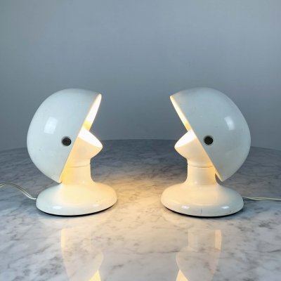 2 White Jucker 147 Table Lamps by Tobia & Afra Scarpa for Flos, 1960s