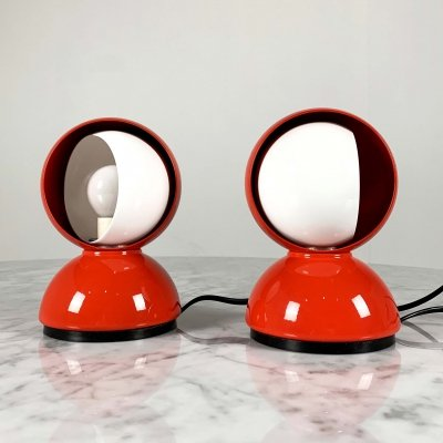 Red Eclisse Table Lamps by Vico Magistretti for Artemide, 1960s