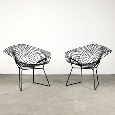 2 Black Diamond Chairs by Harry Bertoia for Knoll