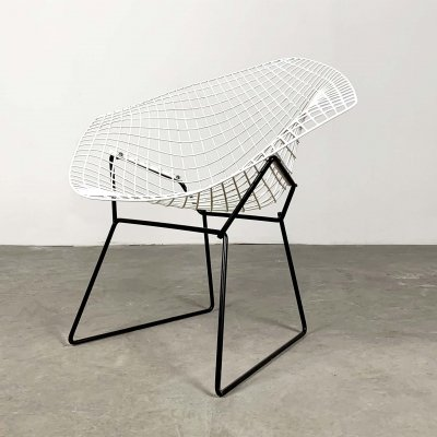 Black & White Diamond Chair by Harry Bertoia for Knoll