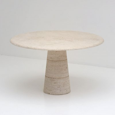 Travertin Round table by Up&Up, Circa 1970