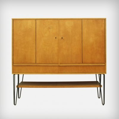 Birch 'CB03' Cabinet With Black Metal Legs by Cees BRAAKMAN for UMS Pastoe, 1950s