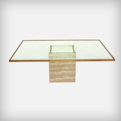 Belgian Travertine, Brass & Glass Coffee Table from Roger Vanhevel, 1970s