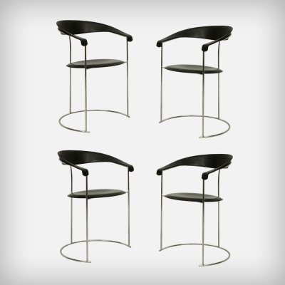 Set of 4 Chrome & Black Leather Canasta Armchairs by Arrben Italy