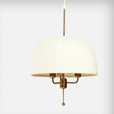 Swedish Brass & Fabric Pendant Lamp from Hans-Agne Jakobsson AB Markaryd, 1970s