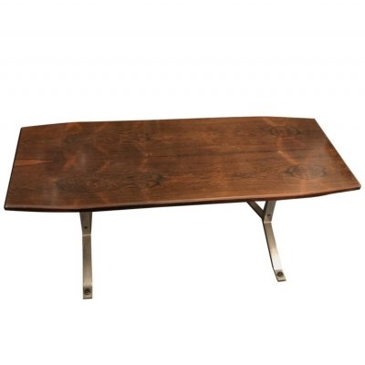 Mid-Century Modern Rosewood Rio & Steel Italian Coffee Table, circa 1970