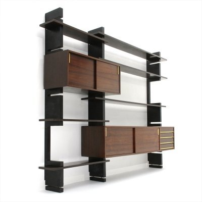 Midcentury black uprights 'Exstenso' wall unit by Amma, 1960's