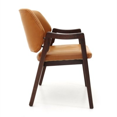 Midcentury brown leather chair by Ico Parisi for Cassina, 1960's