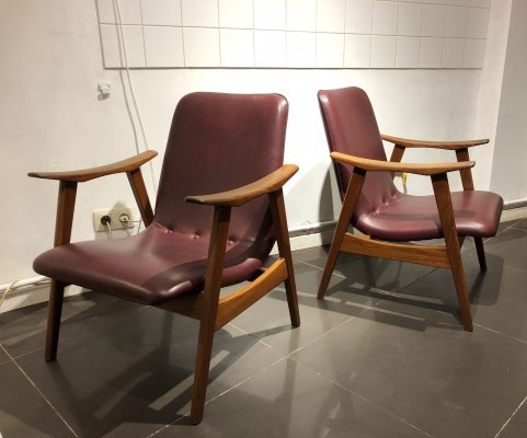 Pair of Easy Chairs by Louis Van Teeffelen for Wébé, 1950s