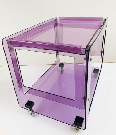 Funky serving trolley in purple acrylic, 1970's