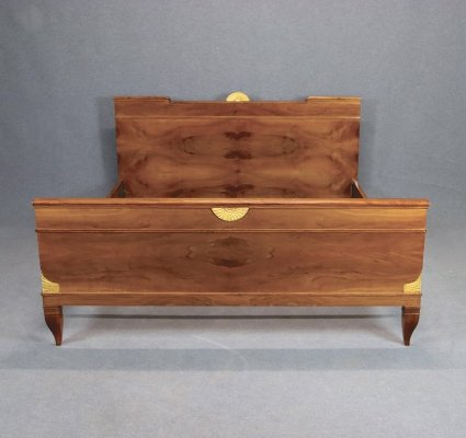 Gio Ponti double bed in walnut & brass, Published 1940s