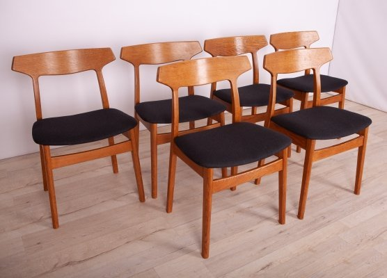 Set of 6 Oak Dining Chairs by H. Kjaernulf for Bruno Hansen, 1960s