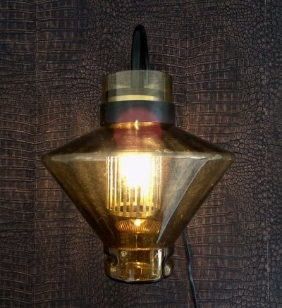 Midcentury Modern 1970's German Design amber glass Wall Lamp