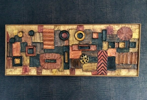 1960's Large Abstract Wall Sculpture Signed by Duval