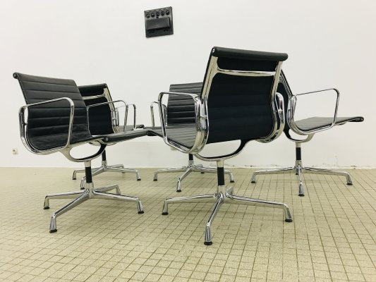 5x Vitra ea108 black leather dining/office alu chairs by Charles & Ray Eames